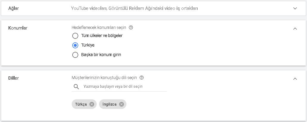 youtube reklam konum ve dil belirleme