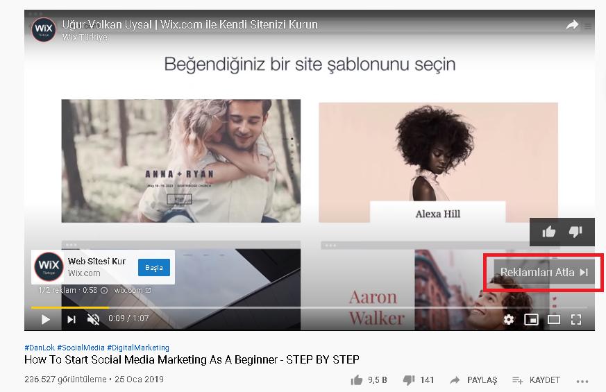 youtube atlanabilir reklam
