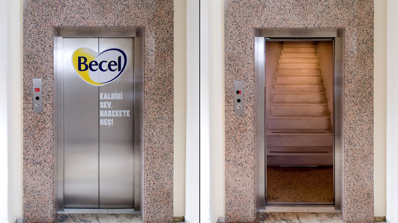 becel asansör reklamı